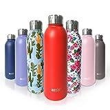 ANSIO Botella de Agua, Frasco de vacío y Botella de Agua de Acero Inoxidable Botella de Bebidas con Aislamiento Doble Pared Botella de Agua Caliente y fría sin BPA al Aire Libre - 500ML -Rojo