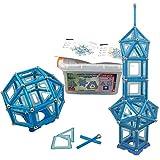 Bloques de construcción magnéticos| 146 piezas: palos XL con imanes fuertes, bolas de acero (pegadas al palo), azulejos y base + Caja de resistente│Juguete creativo para niños de 3 años en adelante