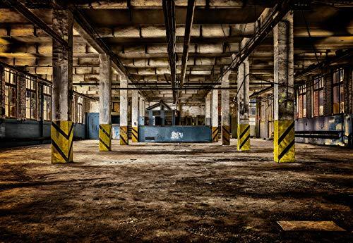 Forwall Fototapete Vlies Tapete Wanddeko Fabrikhalle Ruinen - Alte Industriehalle Moderne Wandtapete Wanddekoration 12922V8 368cm x 254cm Schlafzimmer Wohnzimmer