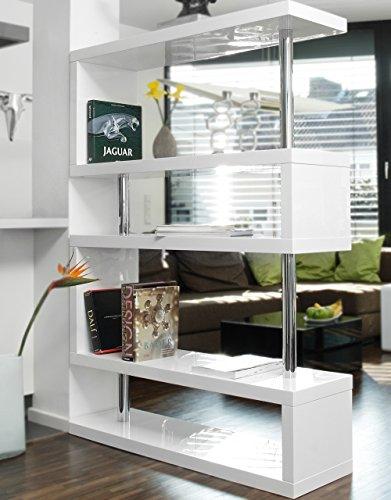 Stand-Regal Raum-Teiler weiß Hochglanz aus MDF 165x120 cm | Sank | Designer Regal Hochglanz Weiss mit viel Stauraum 165cmx120cm | Mehrzweck-Regal auch als Bücher-Regal geeignet