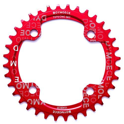 Dymoece Fahrrad Kettenblatt 104BCD 32T/34T/36T/38T für 9 10 11-Fach Runde - geeignet für die meisten Shimano- und Sram-Kurbelsätzen, Red, 32T