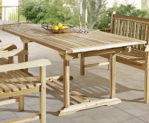 SAM Gartentisch Kuba, Teakholz massiv, 180-240 x 100 cm, ausziehbarer Holztisch für Balkon & Garten