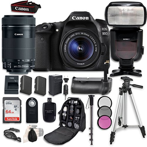 Canon EOS 80D Digital SLR Camera Bundle with Canon EF-S 18-55mm f 3.5-5.6 Image Stabilization STM Lens and EF-S 55-250mm f 4-5.6 STM Lens, Professional Accessory Bundle (16 items)
