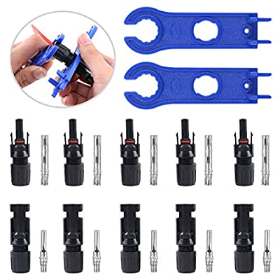 Glarks 2PCS Blue Solar Panel Assembly and Disassembly Tool and 5 Pair Male/Female Solar Panel Cable Connectors Set for Roof Mounted Solar Panel Motohome RV Camper