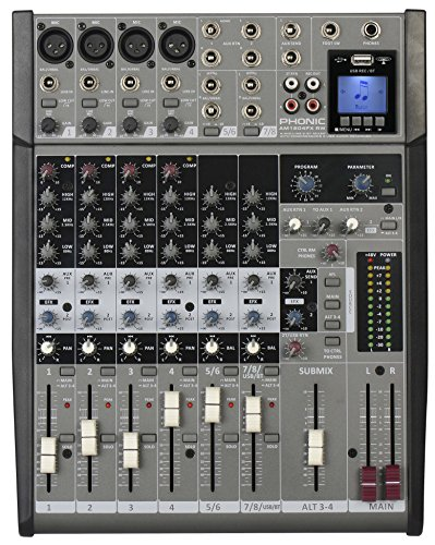 Phonic AM1 204 FX RW Mischpult mit 4 Eingängen mit Recorder Funktion