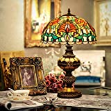 Ventilador de Techo Lámparas de Araña Lámparas de Mesa de Estilo Tiffany Lámpara de Escritorio de Vidrio Color Retro de 13 Pulgadas de Euro con Luz de Mesa de Base de Resina para Western...
