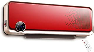 ZEZHOU Termoventiladores, Montado en la Pared Baño Calentador de Ventilador con Control Remoto y Temporizador, 2000W, Termostato, 3-Nivel de Ajuste de Baja Potencia, Rojo