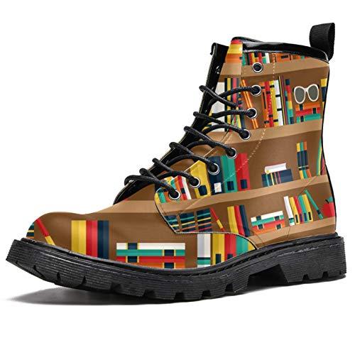 Bennigiry Estantes con Libros Botas de caña Alta para Mujer Zapatos clásicos de Invierno Zapatos de Cuero Casuales