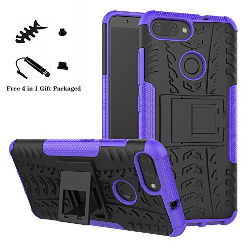 LiuShan ASUS Zenfone Max Plus M1 ZB570TL Hülle, Dual Layer Hybrid Handyhülle Drop Resistance Handys Schutz Hülle mit Ständer für ASUS Zenfone Max Plus (M1) X018DC(ZB570TL) Smartphone,Lila