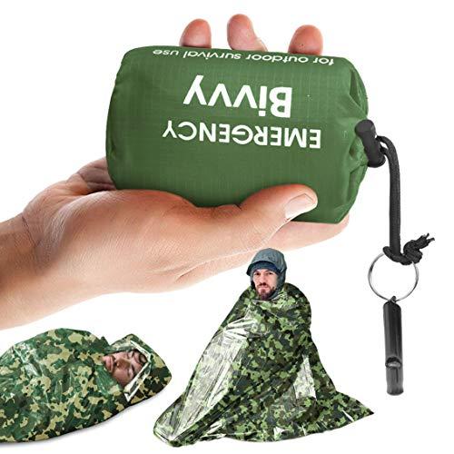 Idefair Notfall-Schlafsack mit Überlebens-Pfeife, wasserdicht, leicht, Überlebensausrüstung, Decken-Taschen mit Überlebenspfeife, für Wandern, Jagd, Camping, Outdoor-Aktivitäten