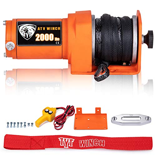 TYT 2000 lb. ATV/UTV Winch with Synthetic Rope Kits, 12V Electric Winch for ATV, UTV, Towing, Boat, Off Road, Waterproof IP67 Portable Winch with Winch Mounting Plate and Wired Handle Remote