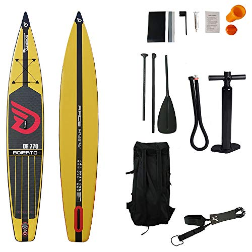 GQMNL Inflatable Stand Up Paddle Board KIT Racing All Round Inflatable SUP Stand Up Paddle Board with Adj Paddle, Pump, Backpack, Leash, Repair Kits for Touring,Surfing,Water Yoga Complete KIT