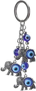 BESPORTBLE Blue Evil Eye Keychain Elephant Blue Eye Turkish Amulet Nazar Bead Keyring Good Luck Blessing Charm for Home Ca...