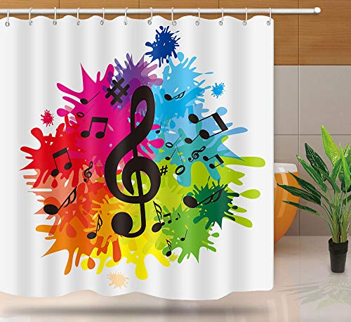 NTETSN Music Note Shower Curtain, Music Shower Curtains for Bathroom, Waterproof Upgrade Rainbow Graffiti Backdrop Bathtub Curtain for Bathroom Accessories with 12 Hooks, 72 x 72 Inches, YLYYNT988