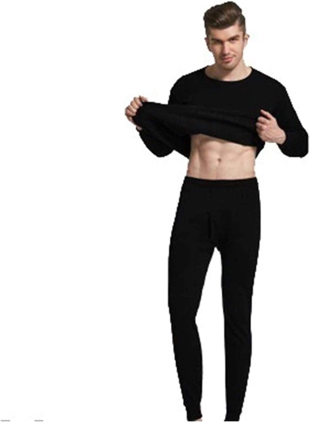 QWERBAM Winter Long Men Thermal Underwear Sets Keep Warm for Men Thick Thermal Clothing Solid (Color : NY001 Black, Size : X-Large)