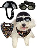 Impoosy Dog Helmets for Small Dogs Hat with Dog Goggles Pet Bandanas Cat Motorcycle Helmet Pet Sunglasses Puppy Adjustable Hat for Dogs Cats (Medium)