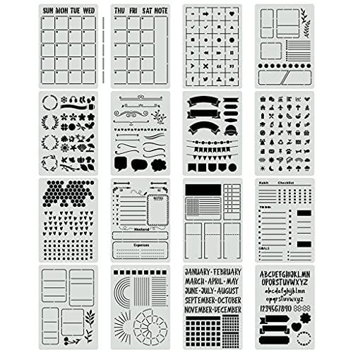 PHILSP Plantilla de Diario, 16 Piezas, Plantilla de plástico para Diario, para Diario, Cuaderno, Diario, álbum de Recortes, Bricolaje