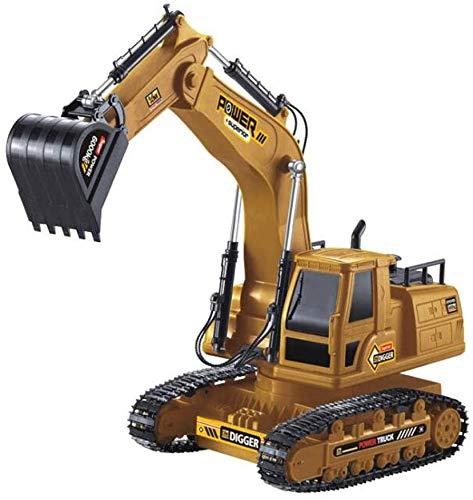 ZXHFDC Excavadora de control remoto de 2.4Ghz 1:18 Excavadora de vehículos de construcción Gran analógica eléctrica de 10 canales Juguete para niños Bulldozer profesional Vehículo de construcción Rega