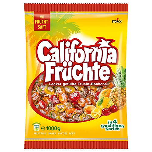 California Früchte (1 x 1kg) / Fruchtige Lutschbonbons mit Fruchtsaftfüllung