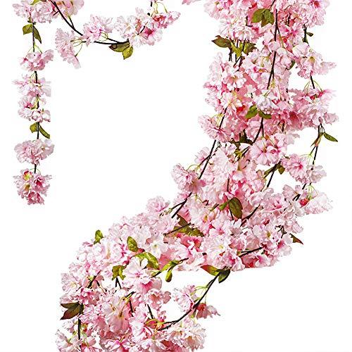 GL-Turelifes 1 Pack 7.22 Feet/Piece Artificial Cherry Vines Hanging Flower Spray Arrangements Faux Garland Wreath Silk Flowers String Home Party Wedding Décor(Pink)