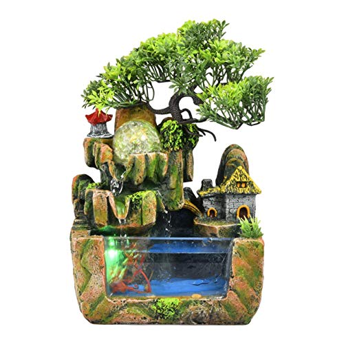 Xuanshengjia Zimmerbrunnen Mit Beleuchtung, Innen Harz Steingarten Wasserfall Brunnen Ornamente Mit Farbwechsel Led, Persönlichkeit Desktop Ornament Für Home Office Dekor (kein Zerstäuber)