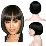 SEGO Parrucca Donna Capelli Veri Naturali Brasiliani Lisci BOB 20cm Wig Corta 100% Remy Human Hair Parrucche 95g - Nero Naturale (Senza Lace)
