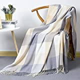 David's Home Buffalo Plaid Throw Blanket-Buffalo Check Blanket with Decorative Tassels for Couch Sofa Office-Outdoor Fringe Lap Throw-50x60 Inches-Beige