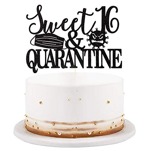 LVEUD Sweet 16 & Quarantined Cake Topper- 16th Quarantined Birthday Party Decorations,Social Distancing Birthday Party Supplies,16th Quarantined Birthday Party Decorations (Black Sparkling)