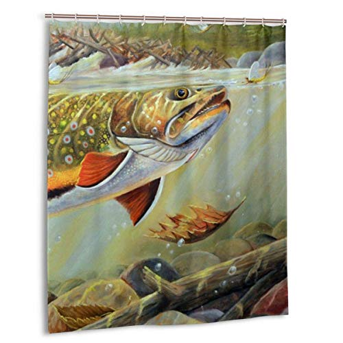 FaceTi Brook Trout Fly Fishing Home Polyester Shower Curtain Waterproof Bathroom Decor Sets with Hooks 60x72 inch