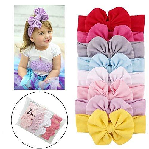 Enuo 8pc Neonate Bowknot Fascia Fascia Dei Capelli Headwear