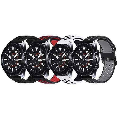 Surace Compatible with Galaxy Watch 3 Band 45mm, Soft Silicone Sport Band with Quick-Release Pin Replacement for Galaxy Watch 46mm Bands, 4 Packs (Black/Black, Black/Gray, Black/Red, White/Black)