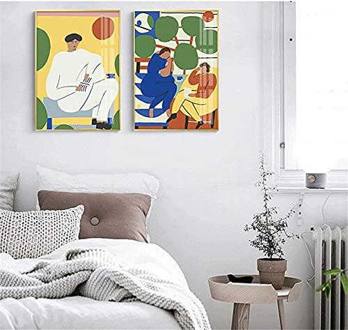 TANXM Impresión del Arte de la Pared(20x30cm) x2 Sin Marco Póster Abstracto con ilustración de Hombre y Mujer, Planta de Hoja, imágenes nórdicas, Sala de Estar, decoración del hogar