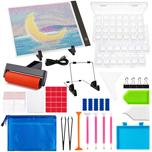 Outuxed 178PCS Diamond Painting A4 LED Light Pad Kit, Tracing Light 5D Diamond Painting Board with Diamond Art Painting Supplies Accessories Tools for Full Drill & Partial Drill USB Powered