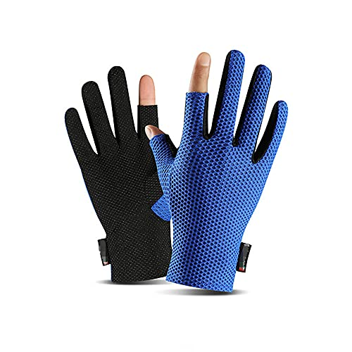 ALYHYB Guantes de pesca 2 dedos cortados Protección solar Seda de hielo Guante de pesca Antideslizante Mitones transpirables Mitones al aire libre Mitón para montar con dos dedos para hombres y mujere