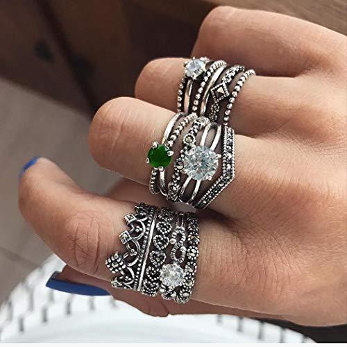 IYOU - Set di anelli in cristallo stile boho, con pietre preziose, stile vintage, in argento intagliato, per donne e ragazze (12 pezzi)