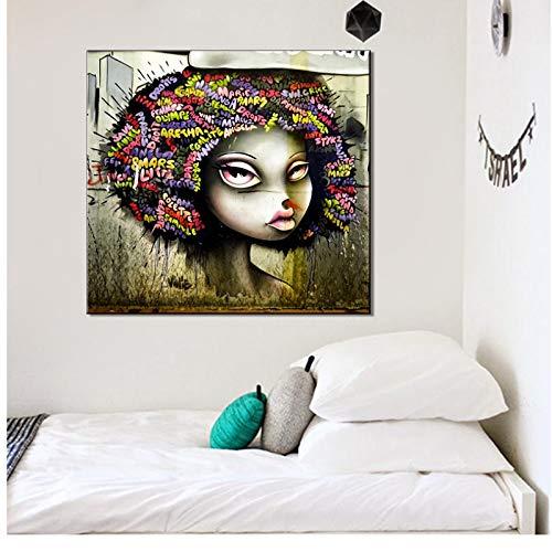 chthsx slaapkamer decoratie schilderij Afrikaanse kunst vrouw schilderij op canvas poster en afdrukken Indian hoofdband 60x60cm geen lijst