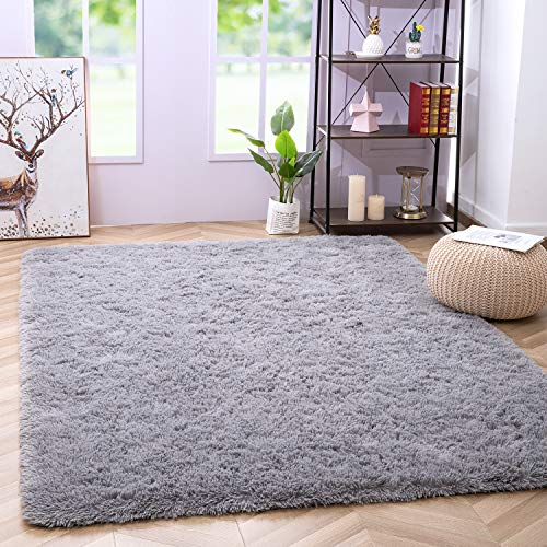soft rugs for bedrooms Noahas Luxury Fluffy Rugs Ultra Soft Shag Rug for Bedroom Living Room Kids Room, Child and Girls Shaggy Furry Floor Carpet Nursery Rugs Modern Indoor Home Decorative, 5.3x7.5 Feet, Grey