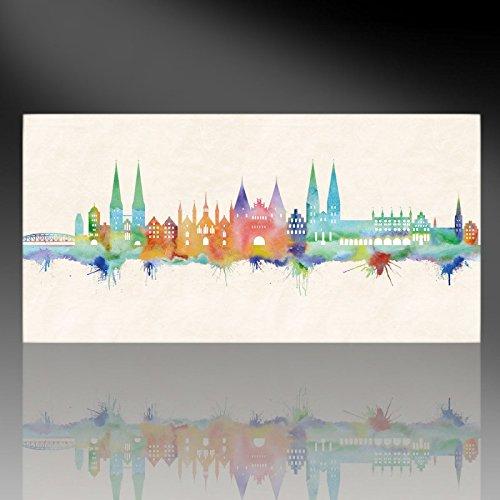 Kunstbruder Lübeck Skyline - Farbe (div. Grössen) - Kunst Druck auf Leinwand 100x200cm