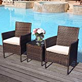 <span class='highlight'>Garden</span> Rattan Furniture Set 3 Pieces Patio Outdoor Rattan Patio Set Includes Cushion One Glass Table Outdoor Indoor Weatherproof Patio Conservatory