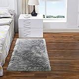 DETUM Luxurious Faux Fur Rug, 2x3 Feet Softest Fluffy Rugs for Bedroom Bedside Furry Sheepskin Rug Plush Carpet for Living Room Machine Washable Floor Mat, Gray