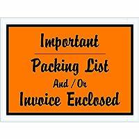 """Aviditi pl4ポリ封筒、凡例「重要なパッキングリストおよび/または請求書囲まれ、厚さ4–1/ 2"""" x 6""""幅、2ミル、オレンジ(ケースof 1000)"""