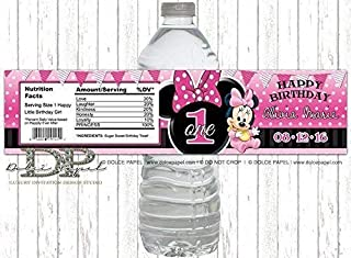 10 Black and Pink MINNIE MOUSE 1st Birthday Party Polka Dot Water Bottle Labels - Peel-n-Stick