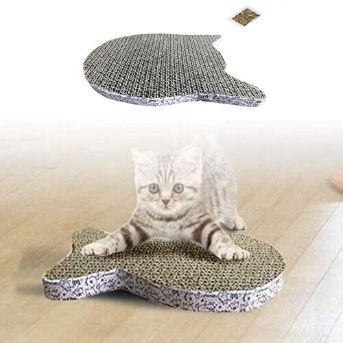 YTHOME Cat Scratch Board Fish/Butterfly/Cat Head Shape, Sisal Cat Scratcher Board, Scratching Post Mat Toy, Satisfy Cats' Natural Scratching Needs Cat Claws Care Cat Head