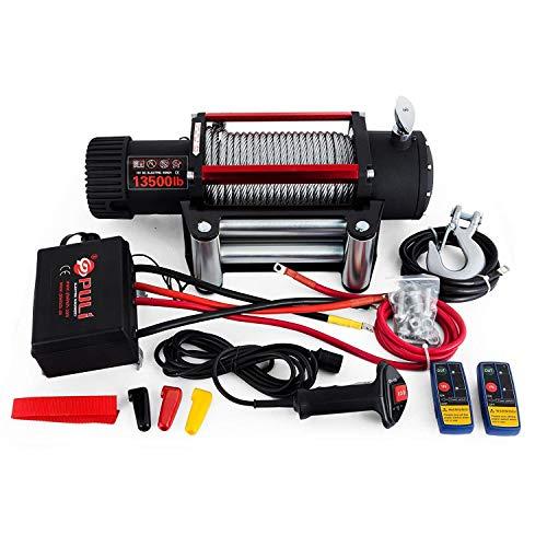 OldFe Elektrische Seilwinde 12V, Elektrische Winde 3000lb/1360 kg, Elektrische Motorwinde Stahlseil mit Funkfernbedienung