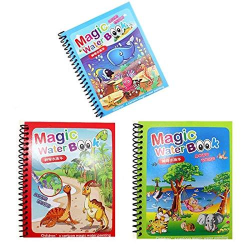 KUYG Magic Water Zeichenbuch Malbuch Doodle Magic Pen Malerei Zeichenbuch wiederverwendbar für Kinderspielzeug Geburtstagsgeschenk