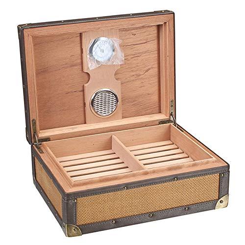 LINRUS Humidor de Puros, Caja de Puros de Dos Niveles con Higrómetro Caja de Humidificador de Puros de 50 Varillas