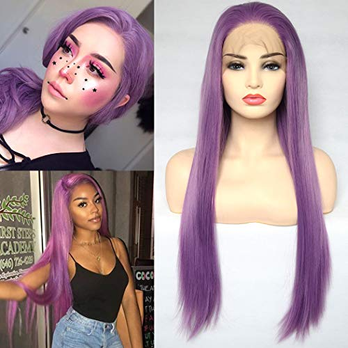 BLUPLE Purple Synthetic Lace Front Wigs Long Silk Straight Lavender Wig with Free Part High Temperature Fiber For Women Party Show  (22 inches, Straight,Purple)