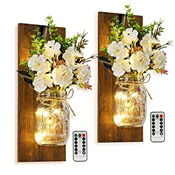 Rustic Wall Mounted Candlesmayson Can Wall Candlestick Remote Control Led Lamp and White Peony Farmhouse Decoration Living Room Bathroom and Kitchen Wall Mounted Lighting Decorative Lamp Set of Two