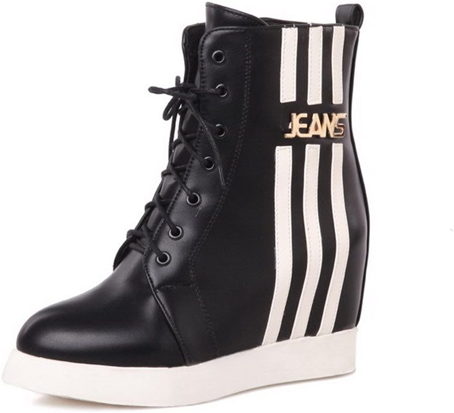 AllhqFashion Women's Round Closed Toe PU Lace-up Low-top Kitten-heels Boots