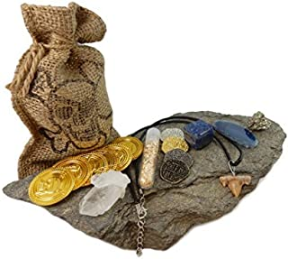Pirate Treasure Pouch Set 17 Pcs Collection - 10 Assorted Pirate Coins, Shark Tooth Necklace, Pyrite Stone, Gold Flake Filled Vial, Blue Agate Slice, Crystal Quartz Point, Tumbled Lapis with COA